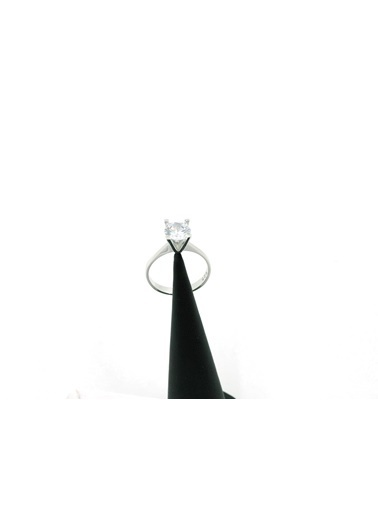 Aykat Gümüş Tektaş Yüzük 925 Ayar Gümüş Tek Taşlı Bayan Yüzüğü Yzk-249 Beyaz
